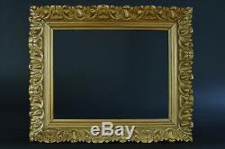 Beau Cadre ancien Art Nouveau bois doré large moulure tableau hst toile frame