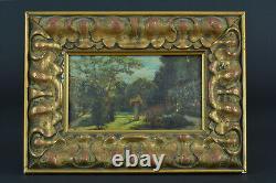 Beau Tableau ancien Paysage Vue de Jardin Stèle Printemps Cadre bois doré