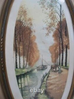 Beau cadre ovale ancien Art déco 1920