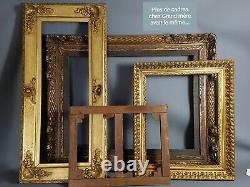 Bel ancien cadre bois+stuc doré 87x41 feuillure 72,5x25,8 cm SB145
