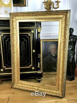 CADRE ANCIEN 19eme A CANAUX EN BOIS ET STUC DORÉ POUR PEINTURE 93,5 cm x 61 cm