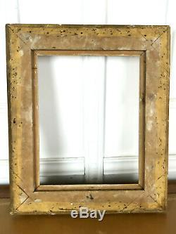CADRE ANCIEN DE STYLE LOUIS XV EN BOIS ET STUC DORÉ POUR PEINTURE 33cm x 26 cm