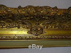 CADRE ANCIEN EN BOIS DORÉ, PEINTURE DE 119 cm x 58.5 cm XIXème