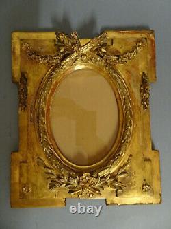 CADRE ANCIEN EN BOIS DORE. XIX°. Peinture, huile, aquarelle, dessin. Louis XVI