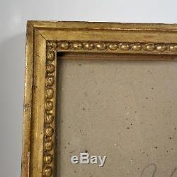 CADRE BAGUETTE BOIS DORÉ FEUILLE XIX feuillure 25 x 30,5 cm