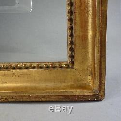 CADRE BAGUETTE BOIS DORÉ XVIII-XIX RANG PERLES feuillure 30,5 x 38 cm