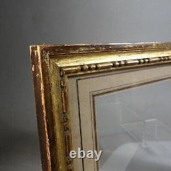 CADRE BAGUETTE FIN XIX style XVIII BOIS DORÉ passe partout 15,2 x 20,9 cm