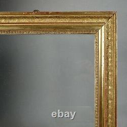 CADRE BAGUETTE XIX BOIS DORÉ FEUILLE PALMETTES FEUILLURE 32,5 x 26 CM