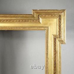 CADRE BAGUETTE XIXE BOIS STUC DORÉ FEUILLE feuillure 32,5 x 40,5 cm