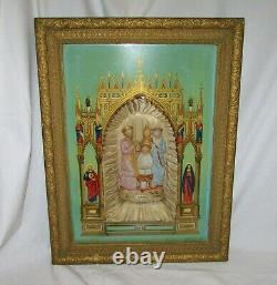 CADRE BOIS DORE DIORAMA RELIGIEUX ANCIEN JESUS MARIE JOSEPH PORCELAINE 19ème