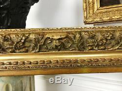 CADRE / ENCADREMENT DU XIXe (GRAND MODÈLE) EN BOIS ET STUC DORÉ (84x61cm)