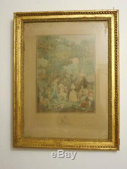 CADRE LOUIS XVI EN BOIS SCULPTE ET DORE. Gravure, Peinture, aquarelle, dessin