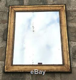 CADRE / MIROIR EN BOIS DORÉ FIN 18 eme AVEC SA GLACE AU MERCURE 53 cm x 60 cm