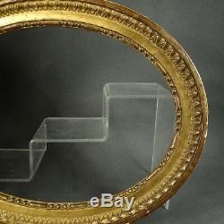 CADRE OVALE BOIS DORÉ XVIII feuillure 32,5 x 24 cm