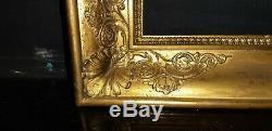 CADRE Restauration Bois A CLEFS doré à la feuille XIXème pour tableau 42 X 34 CM