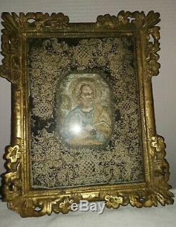 CANIVET FAIT AU CANIF Saint Pierre cadre bois doré XIX ° siècle