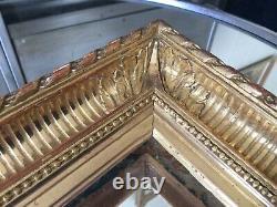 Cadre A Canaux Louis XVI Ancien Bois Doré Feuille dOr Fermé à Clé XIXeme