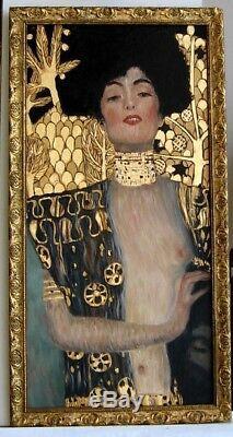 Cadre Ancien Bois Dore Art Deco Peinture Huile Reproduction Klimt A La Feuille