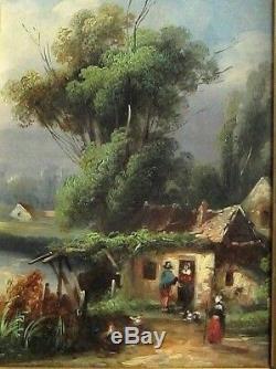 Cadre Ancien Bois Dore Peinture Huile Cour De Ferme Animee Barbizon