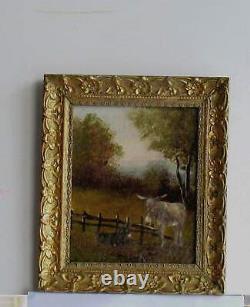 Cadre Ancien Bois Dore Peinture Huile Sur Toile Deux Anes Dans La Campagne