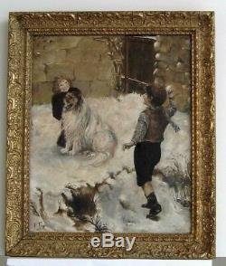 Cadre Ancien Bois Dore Peinture Huile Sur Toile Enfants Et Chien Dans La Neige