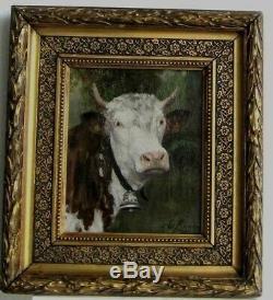 Cadre Ancien Bois Dore Peinture Huile Sur Toile Vache Blanche Et Marron