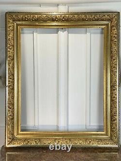 Cadre Ancien En Bois Et Stuc Doré / Argenté Pour Peinture 81 CM X 65 CM