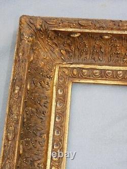 Cadre Ancien Style Barbizon Bois Et Stuc Dore A La Feuille 32cmx37cm Nf9