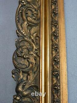 Cadre Ancien Style Louis XIV Bois/stuc Dore Sculpte De Vegetaux 54cmx67cm 17b11