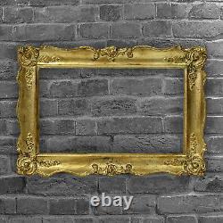 Cadre Ancien de 1850-1900 en bois doré Feuillure 44 x 27 cm