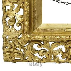Cadre Ancien de 1850 en bois ajouré et doré 27x22 cm à l'intérieur