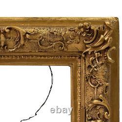 Cadre Ancien de 1850 en bois decoré avec ornements 27 x 21,5 cm à l'intérieur