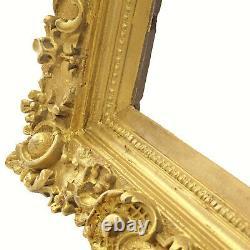 Cadre Ancien de 1897 en bois richement decoré Feuillure41x32 cm