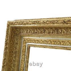 Cadre Ancien de XIXe en bois Doré a la feuille Feuillure 40x28,5 cm