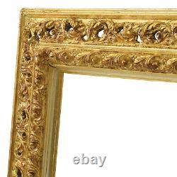 Cadre Ancien de XIXe en bois ajouré Peinture Feuillure 62x50 cm