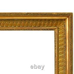 Cadre Ancien du 1900 Orné Dorée de Peinture Mirroir Feuillure 61,5x49cm