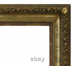 Cadre Ancien en Bois du 19ème siècle de Peinture Mirroir 48x39cm à l'intérieur