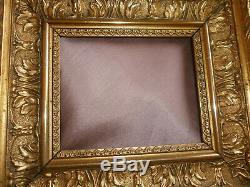 Cadre Barbizon doré pour peinture miniature Feuilles acanthe laurier & perles