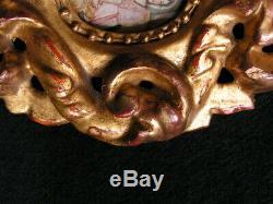 Cadre Bois Dore Regence Baroque Xviieme Miniature Peinte Religieuse
