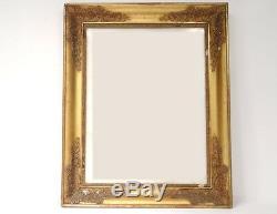 Cadre Empire bois stuqué doré palmettes fleurs gravure antique frame XIXème