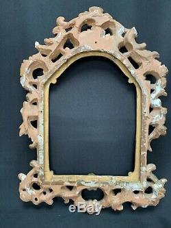 Cadre En Bois Sculpte 19 Eme Louis XV Dorure Feuille Or Riche Decor C1714