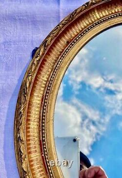 Cadre Miroir Mural Ancien Ovale en Bois Doré fin du XIX ème début XX ème