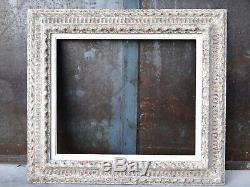 Cadre Montparnasse ancien à patine blanche et doré 85 cm x 68 cm