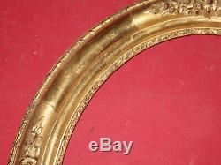 Cadre Ovale époque 19ème, Doré à La Feuille