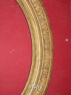 Cadre Ovale époque 19ème, En Bois Doré