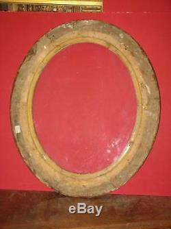 Cadre Ovale, époque 19ème, En Bois Doré