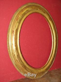 Cadre Ovale, époque 19ème En Bois Doré