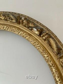 Cadre Ovale époque Louis XIV, 17ème En Bois Sculpté Doré À Lor