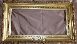 Cadre XIXème bois & stuc doré Frise lauriers & perles 80x46,6 Marine Fleurs