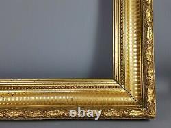 Cadre à canaux bois & stuc doré XIXe siècle 58x51 cm, feuillure 45,8x38,4 cm SB